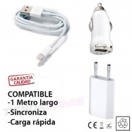 Cargador iPhone 7 / 7Plus cable + adaptador pared Blanco