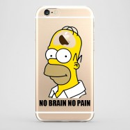 Funda iPhone 6 Homer No Brain No Pain Transparente