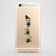 Funda iPhone 6 Plus Minions 3 Colgados Transparente