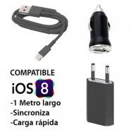 Cargador de pared + coche + cable datos para IPHONE 6.