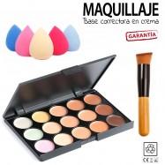 Estuche maquillaje 15 CORRECTORES maletin + brocha + esponja