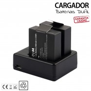 CARGADOR DOBLE X 2 Baterías para SJCAM interna recambio camara deportiva SJ4000 SJ7000