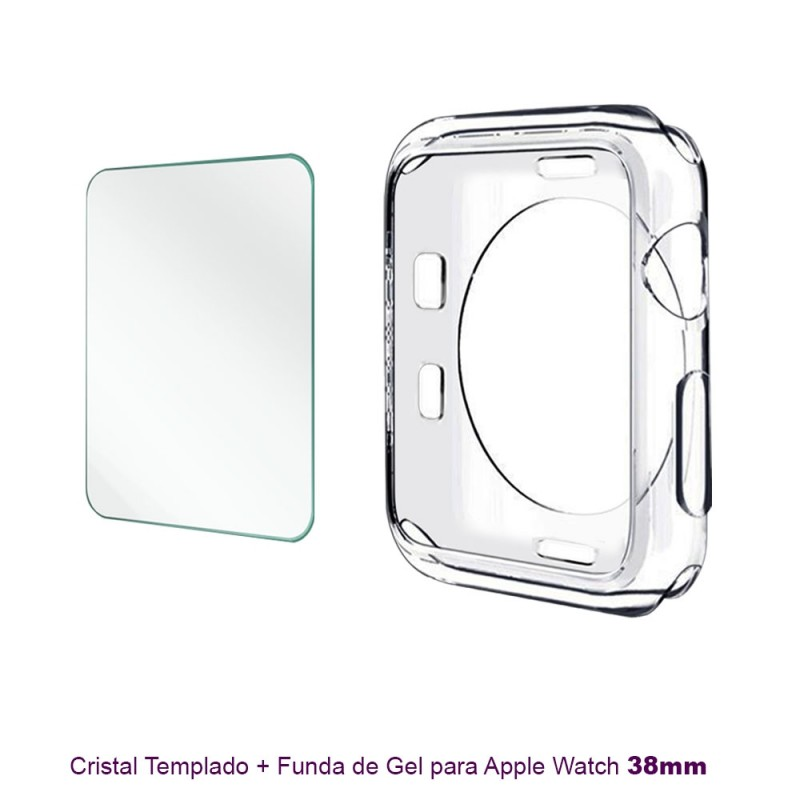 Protector cristal + Funda Silicona para  Apple Watch