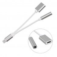 Adaptador iPhone X Cable dos en uno Cargador y Audio