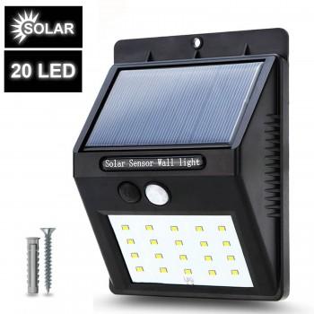 LÁMPARA LED EXTERIOR, ENERGÍA SOLAR Y SENSOR MOVIMIENTO