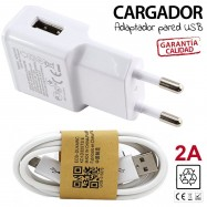 CARGADOR DE PARED USB 2A + CABLE MICRO-USB