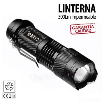 MINI LINTERNA LED CREE TÁCTICA DE ALTA POTENCIA 300 Lm.