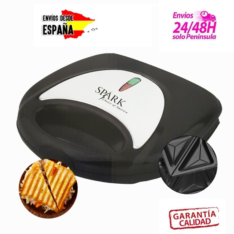 Sandwichera doble con placa de parrilla y placa triangular