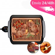 Grill eléctrico con plancha placa de bronce