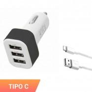 Cargador triple de mechero para móvil con cable micro usb tipo C. Carga el smartphone en el coche con adaptador.