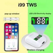 Auriculares bluetooth inalámbricos bluetooth TWS i99 con caja de carga y carga inalámbrica compatibles con Android iPhone