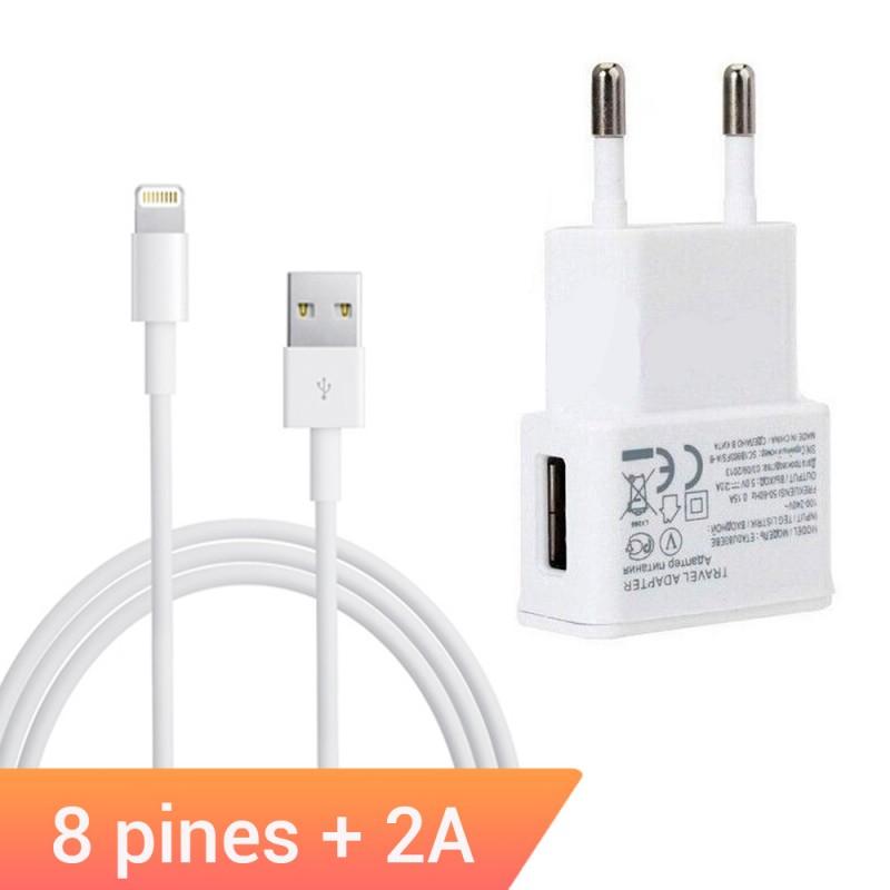 Cargador adaptador de 2A con cable lightning de 8 pines para iPhone, iPad, Apple