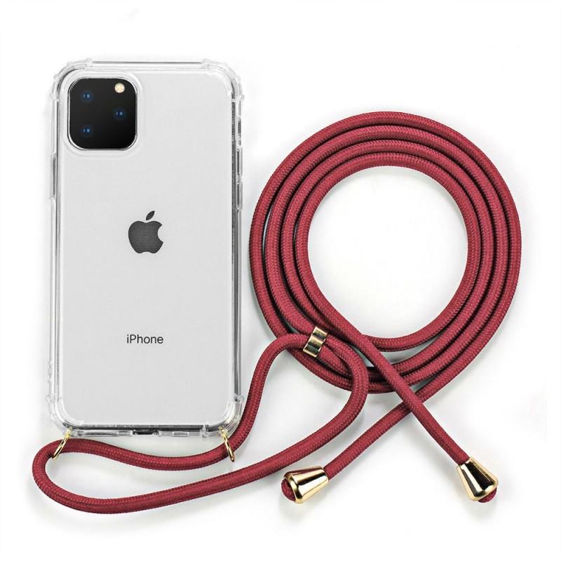 Funda de silicona transparente con cuerda cordón correa para iPhone 11 11 Pro 11 Pro Max iPhone XR y iPhone X XS