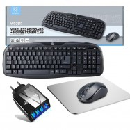 Pack de teclado + ratón inalámbricos con alfombrilla y cargador de carga rápida con 4 USB