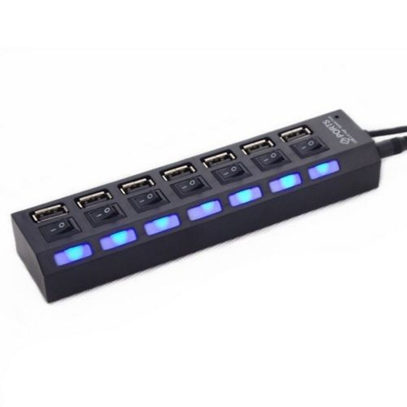 Regleta multipuerto HUB de 7 siete puertos USB 2.0