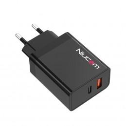 Cargador de carga rápida qualcomm 3.0 36W quick charge para iphone y android cargador para móvil Niucom dual USB