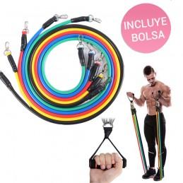 Bandas elásticas para fitness cintas de resistencia para ejercicios y entrenamiento en casa con adaptador puerta.