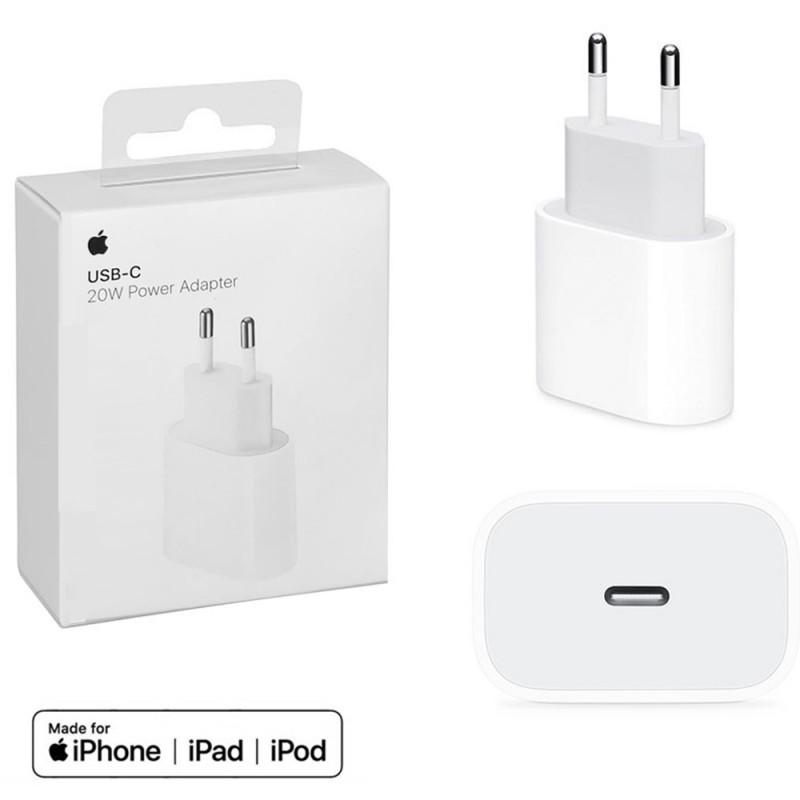 Cargador Apple original 20W usb c a lightning adaptador pared para iPhone 12 y iPad con carga rápida.