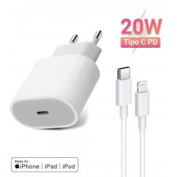 Cargador de 20w carga rápida para iPhone 12 11 x xr cargador para iphone 12 con cable usb tipo c a lightning