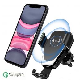Soporte de coche para móvil con carga inalámbrica qi universal con ajuste al salpicadero del vehículo.