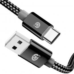 Cable usb tipo c para movil carga rápida trenzado nylon cuerda conexión de USB a USB C compatible con Android y iPhone.