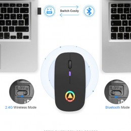 Ratón mouse gamer gaming inalambrico para PC con luz led conexión inalámbrica bluetooth 5.0 + 2.4 ghz