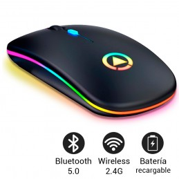 Ratón gaming inalambrico para PC con luz led conexión inalámbrica bluetooth 5.0 + 2.4 ghz