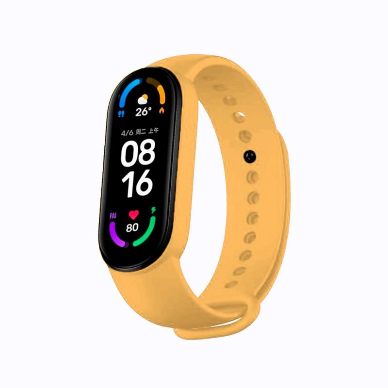 Correa de silicona flexible de color amarillo para Xiaomi Mi Band 6 pulsera de recambio para smartband impermeable xiaomi
