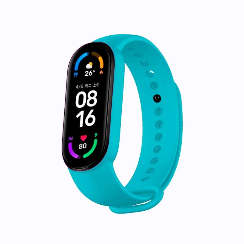 Correa de silicona flexible de color azul para Xiaomi Mi Band 6 pulsera de recambio para smartband impermeable xiaomi