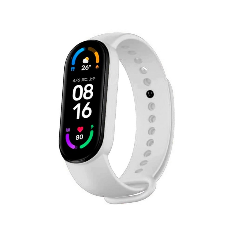 Correa de silicona flexible de color blanco para Xiaomi Mi Band 6 pulsera de recambio para smartband impermeable xiaomi