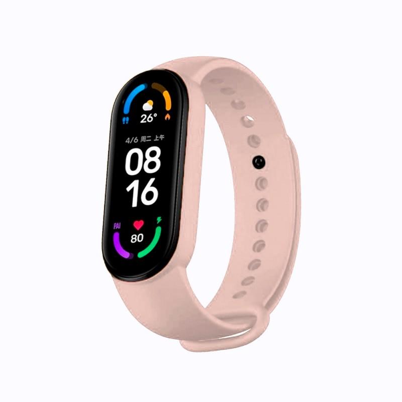Correa de silicona flexible de color rosa para Xiaomi Mi Band 6 pulsera de recambio para smartband impermeable xiaomi