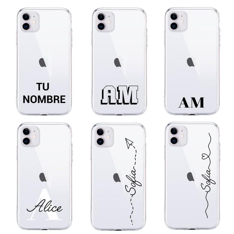 Funda personalizada con nombre y letras para iPhone 11 iphone 12 iphone xr iphone x silicona transparente