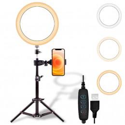 Aro de luz + trípode ajustable para smartphone kit de fotografía con iluminación para tik tok youtube instagram