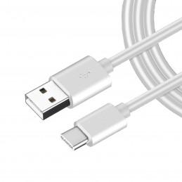 Cable usb tipo c color blanco de carga rápida para movil cargar y transferencia de datos para smartphone 1 metro