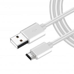 Cable micro USB blanco de carga rápida para movil cargar y transferencia de datos para smartphone 1 metro
