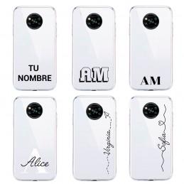 Funda personalizada con nombre y letras para móvil smartphone samsung xiaomi poco huawei x3 p40 s20 silicona transparente