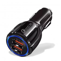 cargador de movil para coche carga rapida doble usb adaptador de mechero para smartphone qualcomm 3.0