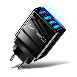 cargador para móvil con carga rapida y multipuerto usb 4 salidas qualcomm multiple usb para smartphone