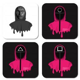 posavasos con diseños de el juego del calamar serie de moda coreana netflix accesorios squid game merchandasing