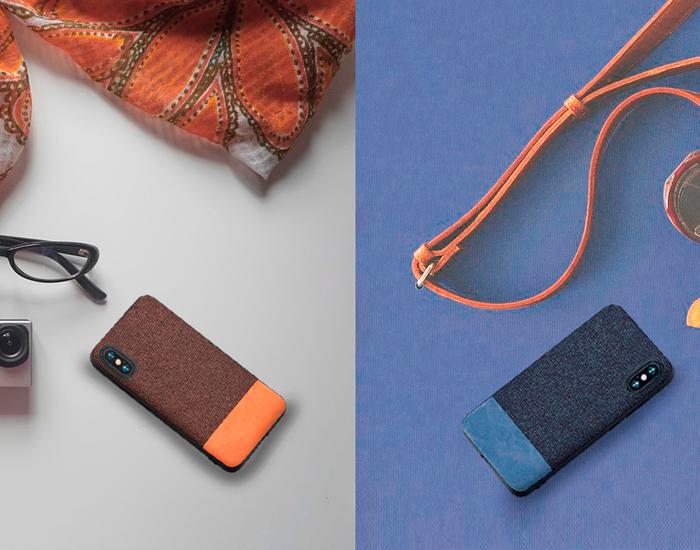 Funda mofi de cuero, piel y tela para iPhone X y XS